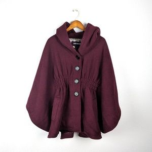 Steve Madden Wine Cape Style Hooded Coat Large